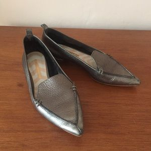Nichols Kirkwood pewter metallic pointy loafers